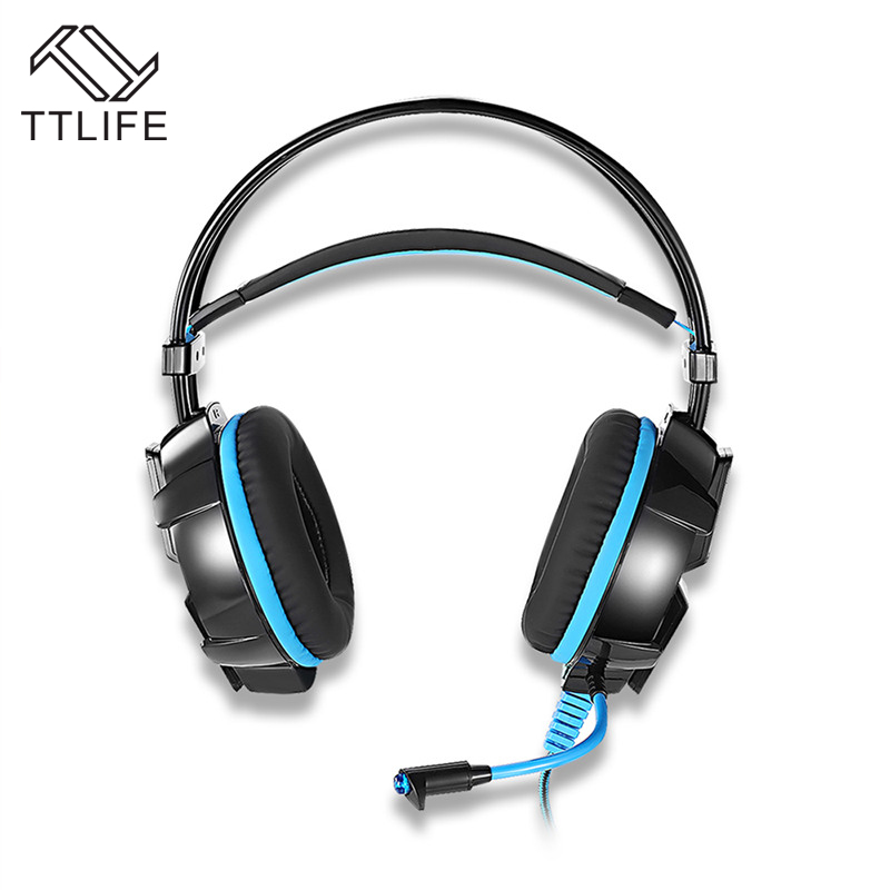 TTLIFE 3.5mm Gaming Headphones LED Light Game Headset Headband with Mic Stereo Bass Earphone for PS4 Computer Laptop GS700 each g8200 gaming headphone 7 1 surround usb vibration game headset headband earphone with mic led light for fone pc gamer ps4