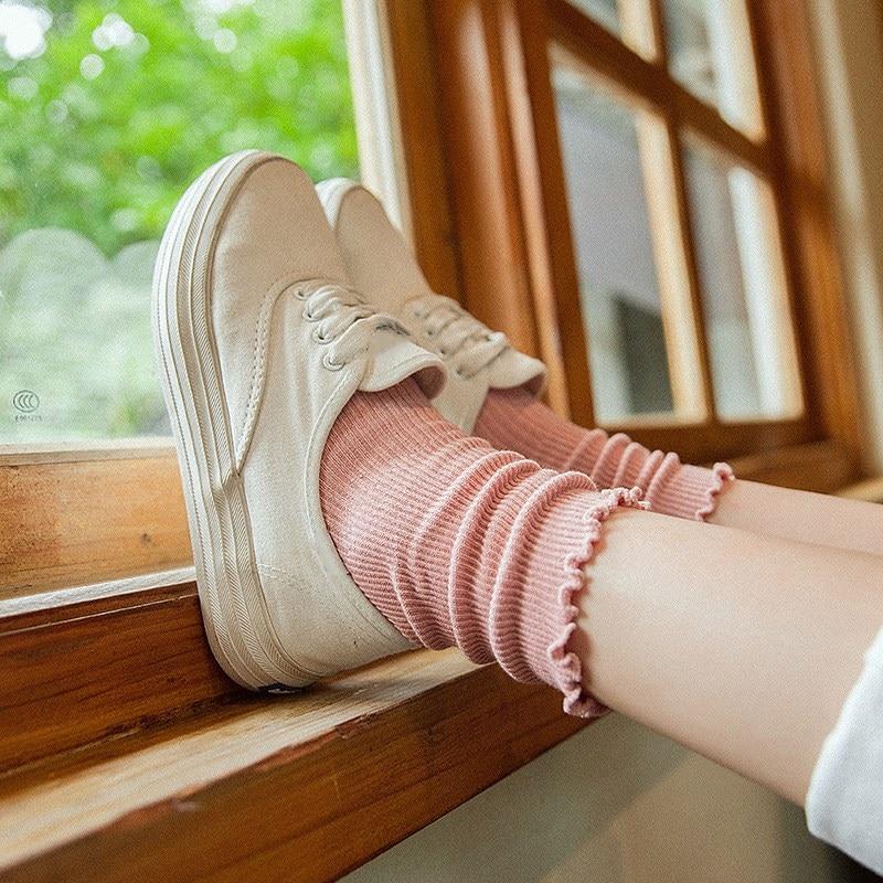 Jeseca Hot Sale Women Socks  Japanese Kawaii Ruffles Girls Cute Sock Female Harajuku Vintage Streerwear Crew Sock For Christmas