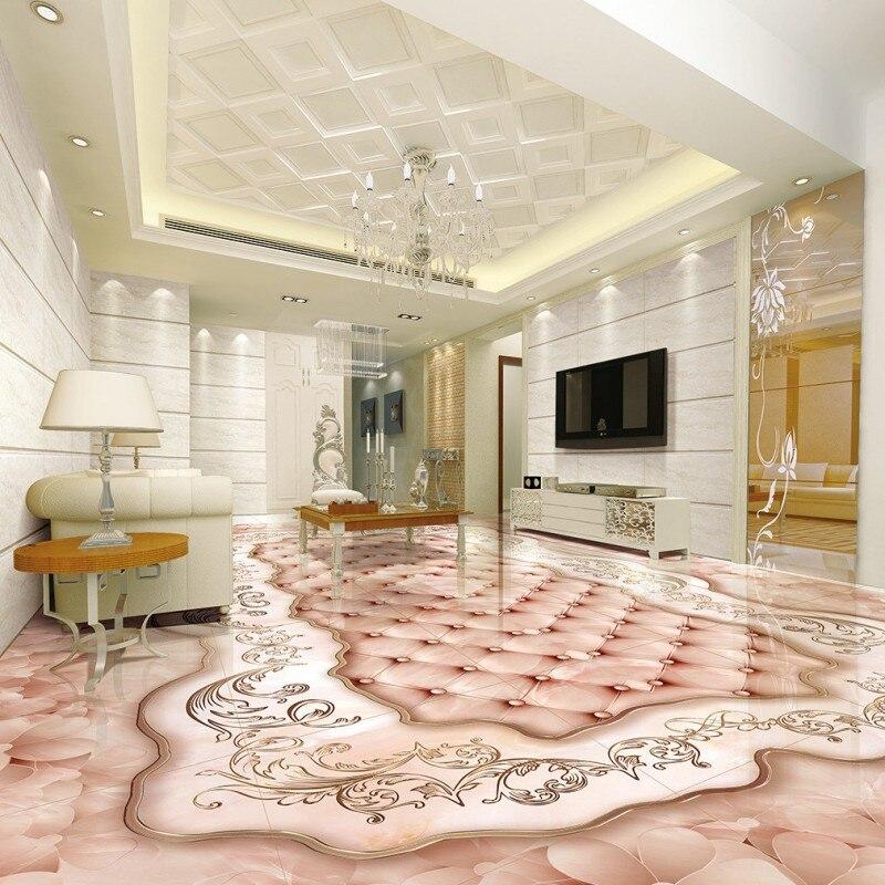 Free shipping Marble floor 3D floor photo waterproof thickened self-adhesive floor custom living room wallpaper flooring
