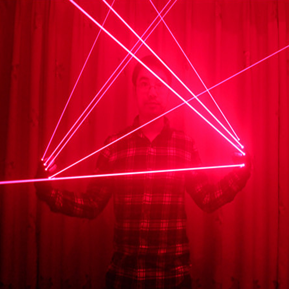 Red Laser Gloves With 4pcs 650nm Laser Disco LED laser Gloves For DJ Club Party Show