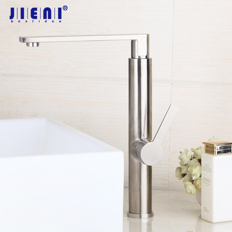 Nickel Brushed Bathroom Basin Faucet Mixer Tap Hot And Cold Water Taps Bathroom Sink Faucets Tap Deck Mounted Mixer led waterfall bathroom basin faucet deck mounted washbasin bathroom tap 5 pcs set flush cold and hot water mixer taps