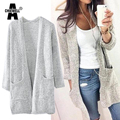 ACHIEWELL Autumn Women Knitted Sweater Cardigan Loose style Pocket Long Sleeve Long Women Knitted Cardigan Sweater Outwear