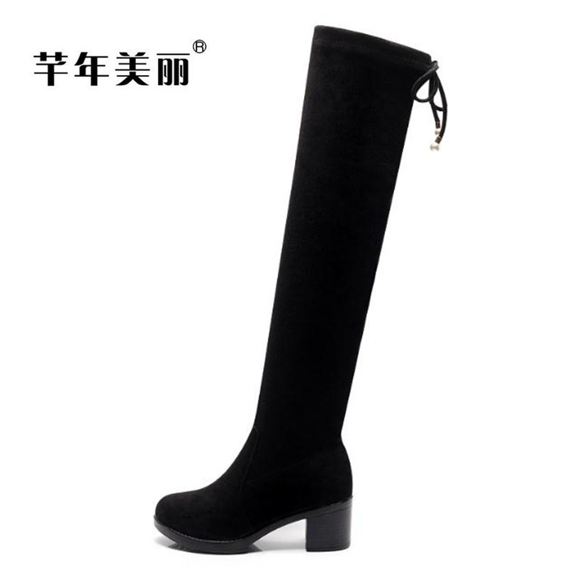 Autumn winter large size waterproof high heel suede knee boots elastic boots Small size Long tube boots women boty topuklu bot