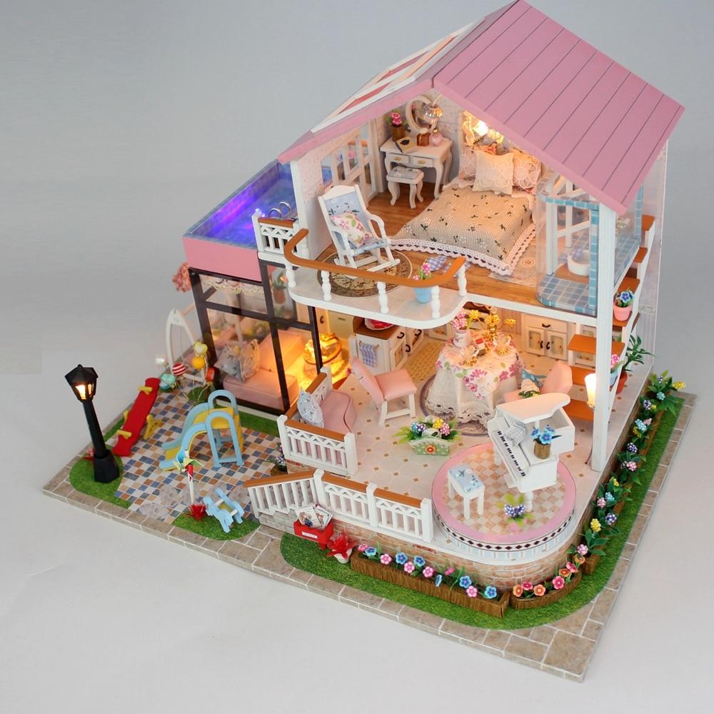 جديد Diy بيت الدمية الخشبية مصغرة دمية منازل الأثاث عدة مربع لغز تجميع الحلو كلمة دمية اللعب ل هدية الكريسماس-في منازل الدمى من الألعاب والهوايات على  مجموعة 3