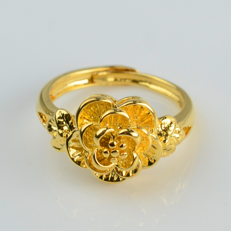 Small flower rings for women 24k yellow gold plated fashion ...