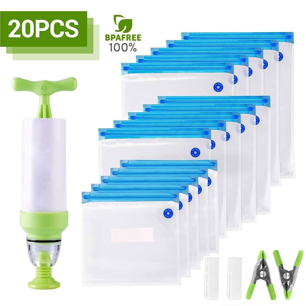 20Pcs/set Bag Kits Reusable Food Storage Vacuum Seal Bags With Hand Pump Bag Sealing Clips Food Wrap For Food Storage Freezing