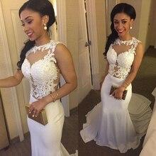 MZ-MSRHS Sexy Lange Abendkleid 2016 Weißen Chiffon mit Spitze Appliques Formale Abendkleid vestido