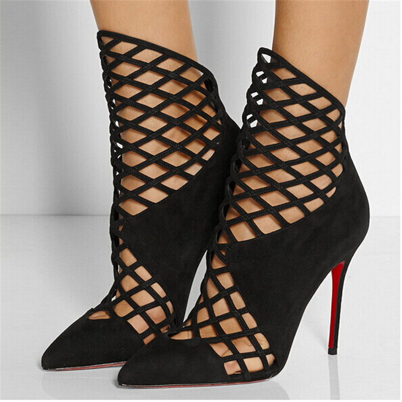WOMEN/'S BLACK POINTED TOE STILETTO SHOE-BOOTS WITH HEEL CUT-OUT