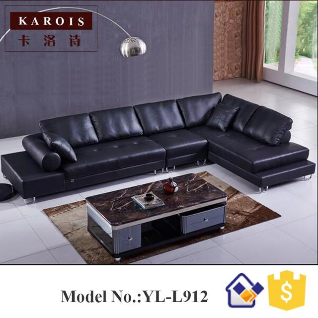 Zwarte moderne L vorm platform lederen sofa sectionele meubilair ...
