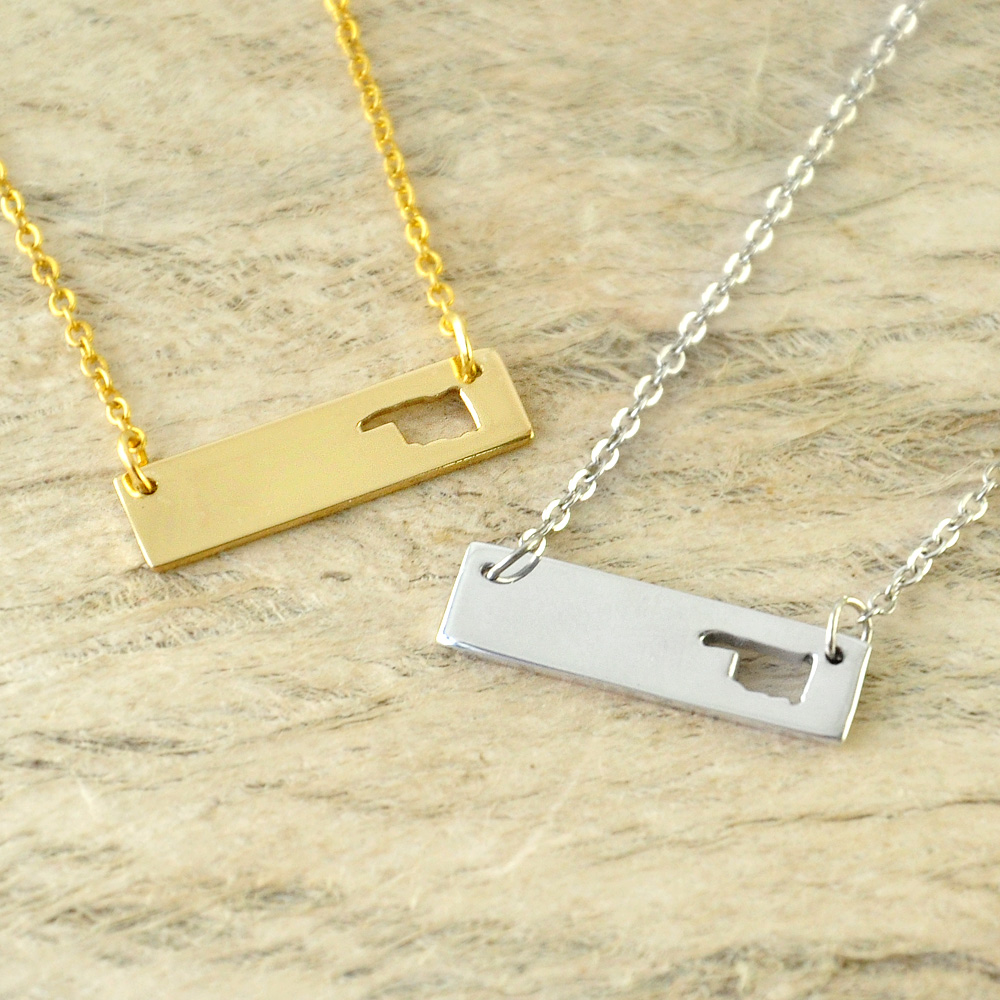 Oklahoma Bar Necklace Cut Out Map Necklace Alloy State Necklace Map Charm Custom Map State Pride Bar Necklace