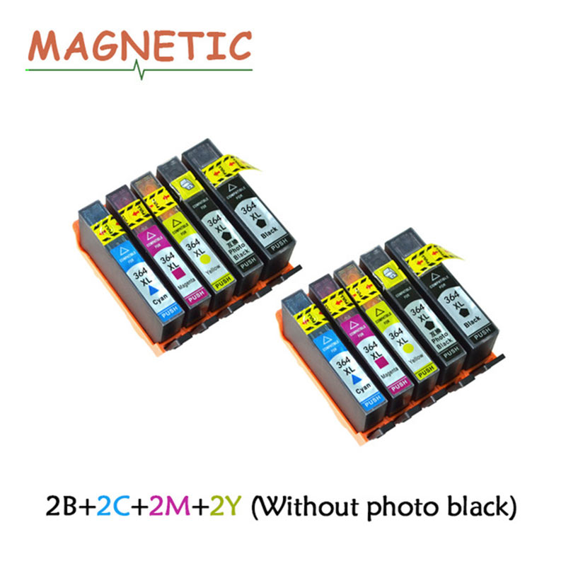 8Pcs Magnetic Compatible Ink Cartridge For HP364 For <font><b>HP</b></font> 5510 5515 6510 B010a B109 B110a B110c B110e B209 B210 Printer Ink <font><b>364</b></font> image