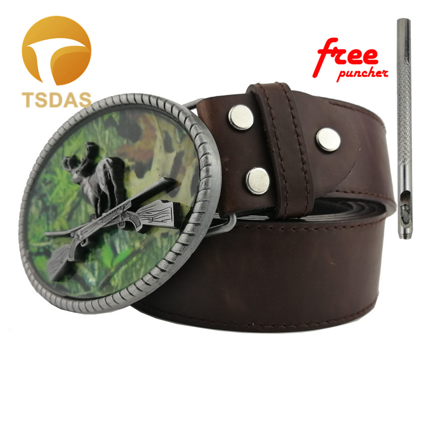 Fashion Cowboys Belt Buckles Metal Ellipse Hunting Deer DIY Brand Luxury Mens Designer Belt Buckles Christmas Gift of 2016