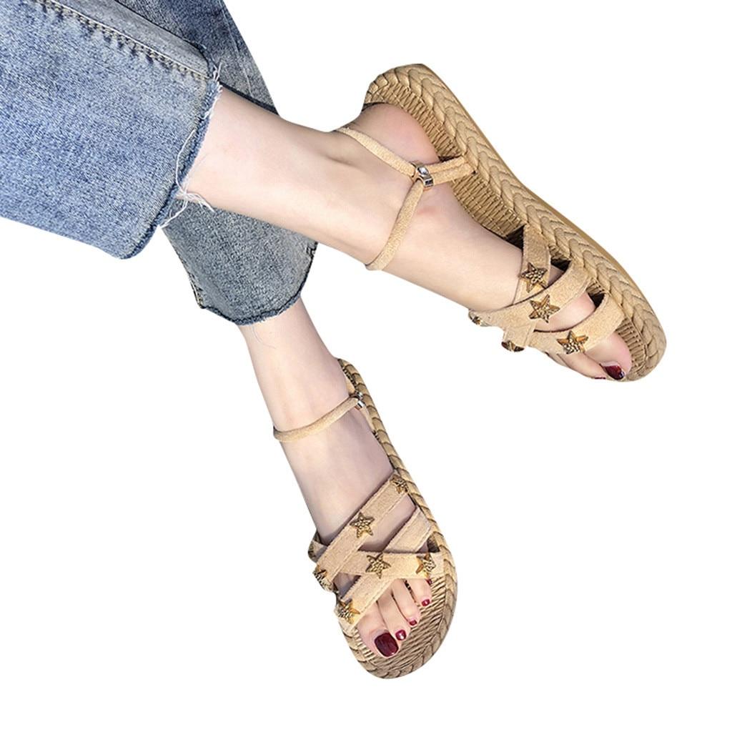 SAGACE Sandal Shoes Comfy Women Platform Cross-Straps Open-Toe X27s Apl29