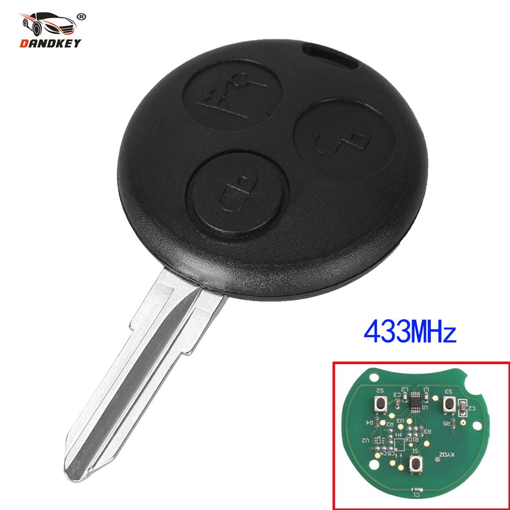 Dandkey Car Remote Replacement Key 3 Buttons Fob 433MHz For Mercedes Benz Key Smart Fortwo 450 Forfour Roadster Chiave Auto Key okeytech for mecerdes benz mb smart fortwo forfour city roadster auto remote key fob blade 433mhz 3 button smart card for benz