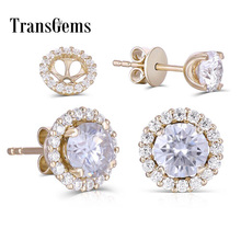 Transgems 14K 585 Yellow Gold 5mm F color Clear Moissanite Stud Earring for Women Push Back with Accents Fine Earrings Gifts