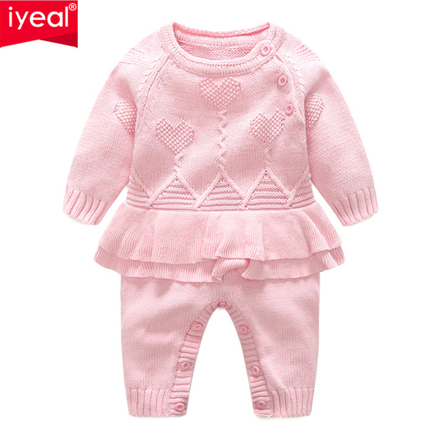 IYEAL Autumn Princess Baby Romper Infant Sweet Girl Knitted Overalls Children Baby Jumpsuit Toddler Girls Clothes Roupa Menina