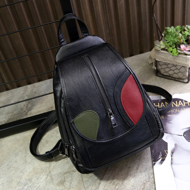 2017 New Stylish Cool Black PU Leather Women Leather Backpack Black Bolsas Mochila Feminina Large Girl