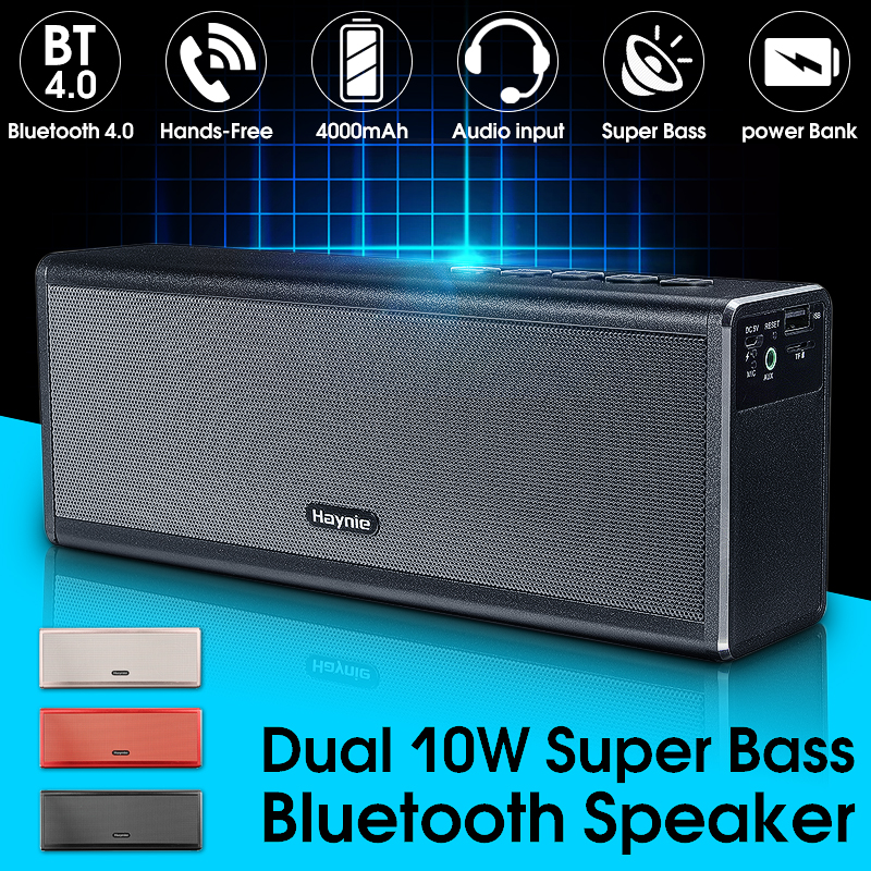 20W Portable Super Bass Metal Bluetooth Speaker 4400mah Power Bank Wireless Desktop Car HIFI Subwoofer Loudspeaker Handfree MIC remax h1 desktop speaker leather straps power bank mini portable speaker rb h1 hifi box and 8800mah power bank 2 in 1 function
