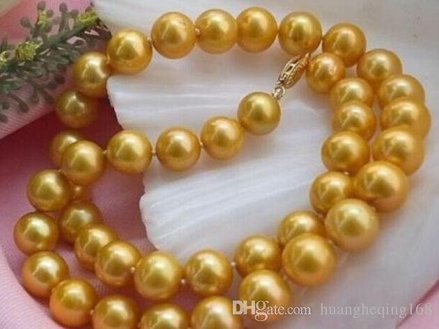 Charming natural 10-11mm AAA south sea gold pearl necklace 18 inch chokerCharming natural 10-11mm AAA south sea gold pearl necklace 18 inch choker