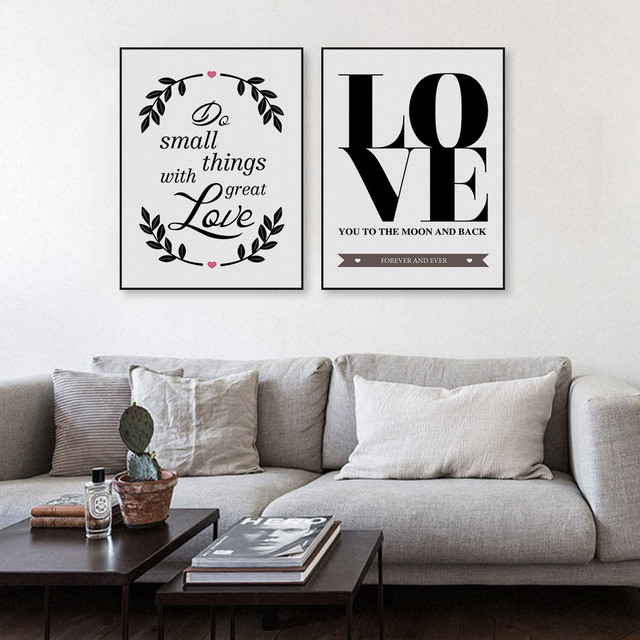 Nordic Minimalist Black White Love Quotes Art Print Poster ...