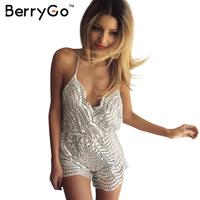BerryGo Sexy Sequin Backless Jumpsuit Rompers Women Adjustable Strap Evening Party Overalls Fashion Club Short Playsuit