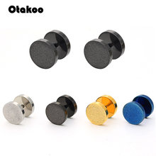 Otakoo High quality plating Titanium steel Prevent allergy pure Circular The barbell Dumbbells Earrings for women Free shipping(China)