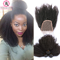 Mongolian Afro Kinky Curly Hair With Closure Human Hair Bundles With Closure 4 Pcs/lot 3 Bundles With Closure Kinky Curly Hair
