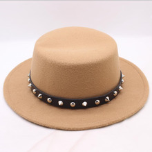 Brand New Wool Boater Flat Top Hat for Womens Felt Wide Brim Fedora Laday Prok Pie Chapeu de Feltro Bowler Gambler