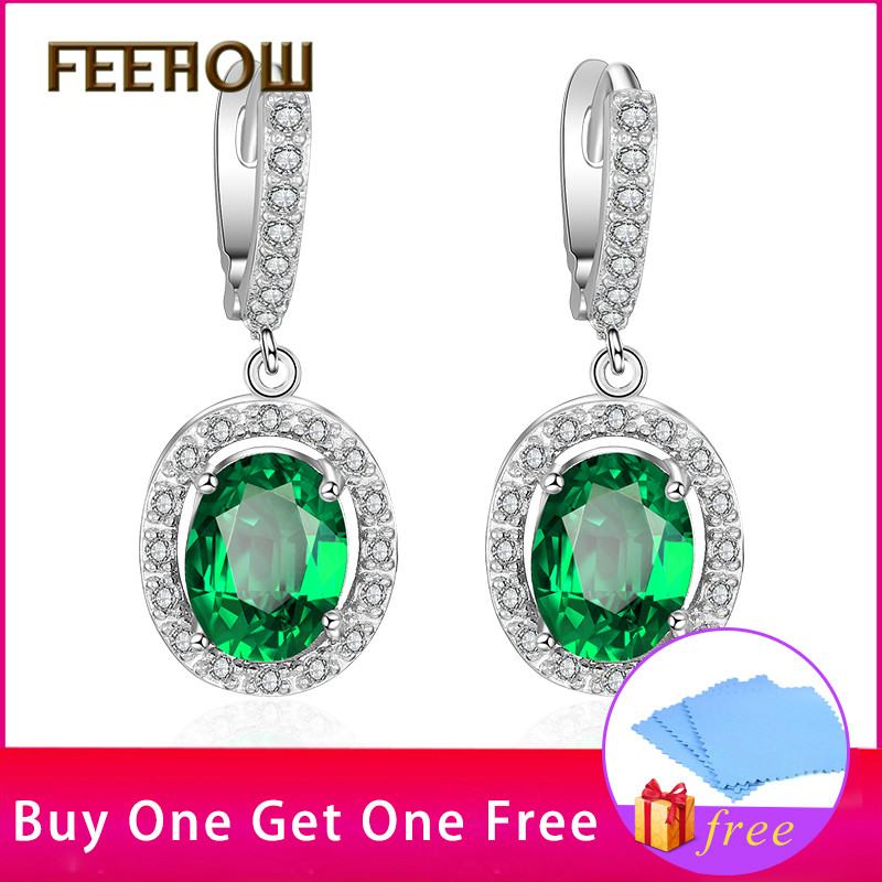 FEEHOW Green Micro Inlay Hollow Out Oval Shape Cubic Zirconia White - Mote smykker