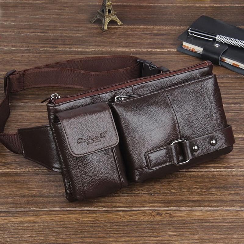 Fashion new genuine leather bags cowhide small waist bags for men man belt wallets men shoulder bag chest bag