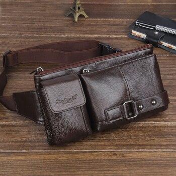 Mode nouveaux sacs en cuir véritable peau de vache petits sacs de taille pour hommes homme ceinture portefeuilles hommes sac à bandoulière sac de poitrine