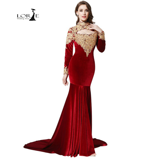 Long Sleeve High Neck Prom Dresses Formal Dresses Womens Lace ...