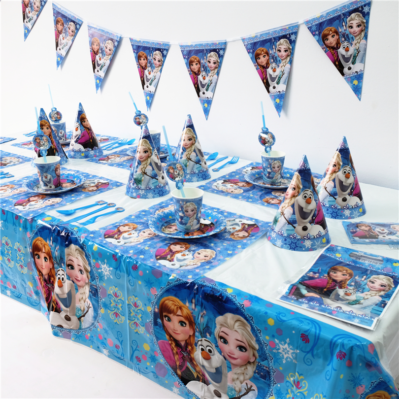 Disney Frozen <font><b>Princess</b></font> Anna Elsa Kids Birthday <font><b>Party</b></font> Decoration Set <font><b>Party</b></font> Supplies <font><b>cup</b></font> plate banner hat straw loot bag fork