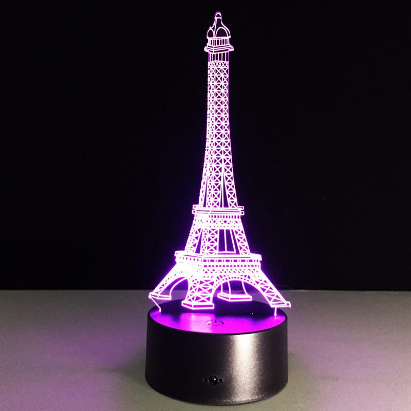 LEDMOMO 2017 New 3D Lamp Visual Light Touch Switch+Remote Control Effect Touch Switch Colors Changing Night Light Eiffel Tower 2set trustfire tr j18 flashlight 5 mode 8000 lumens 7 x cree xm l t6 led by 18650 or 26650 battery waterproof high power torch