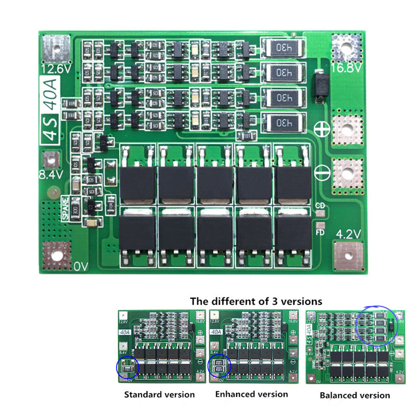 4S 40A 18650 Lithium Li-ion Battery Charger Protection Board PCB BMS W/Balancer For Drill Motor 14.8V 16.8V Lipo Cell Module