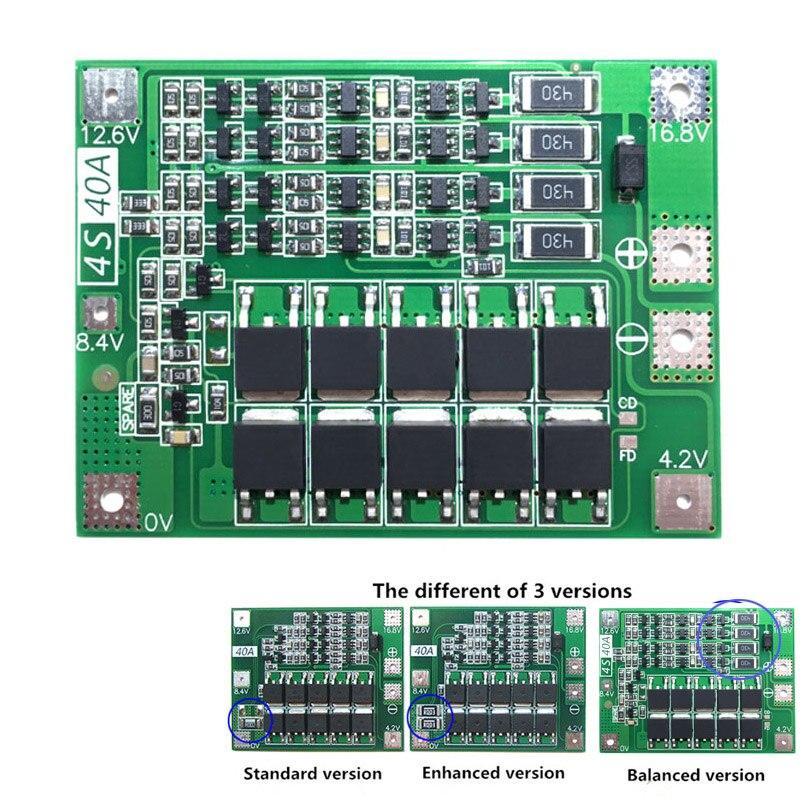 4S 40A 18650 Lithium Li-ion chargeur de batterie carte de Protection PCB BMS avec équilibreur pour moteur de forage 14.8V 16.8V Module de cellule Lipo