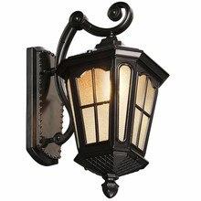 Античный деревенский Железный водонепроницаемый уличный настенный светильник винтажный Керосиновый Фонарь светильник ржавый матовый черный коридор настенный светильник
