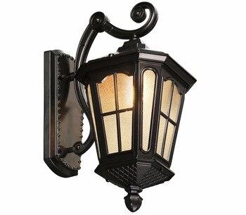 Antique Rustic Iron Waterproof Outdoor Wall Lamp Vintage Kerosene Lantern Light Rusty Matte black Corridor Hallway Wall light