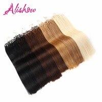 Alishow Döngü Saç Uzantıları 16 inç-24 inç Mikro Döngü Yüzük % 100% Remy İnsan Saç Uzantıları 100g Düz Çift Çizilmiş saç