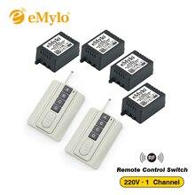Emyloリモート制御光スイッチAC220V 230V 240V 1000ワット2 × 4ボタン送信機4 × 1チャンネルリレーrf 433 mhzワイヤレススイッチ