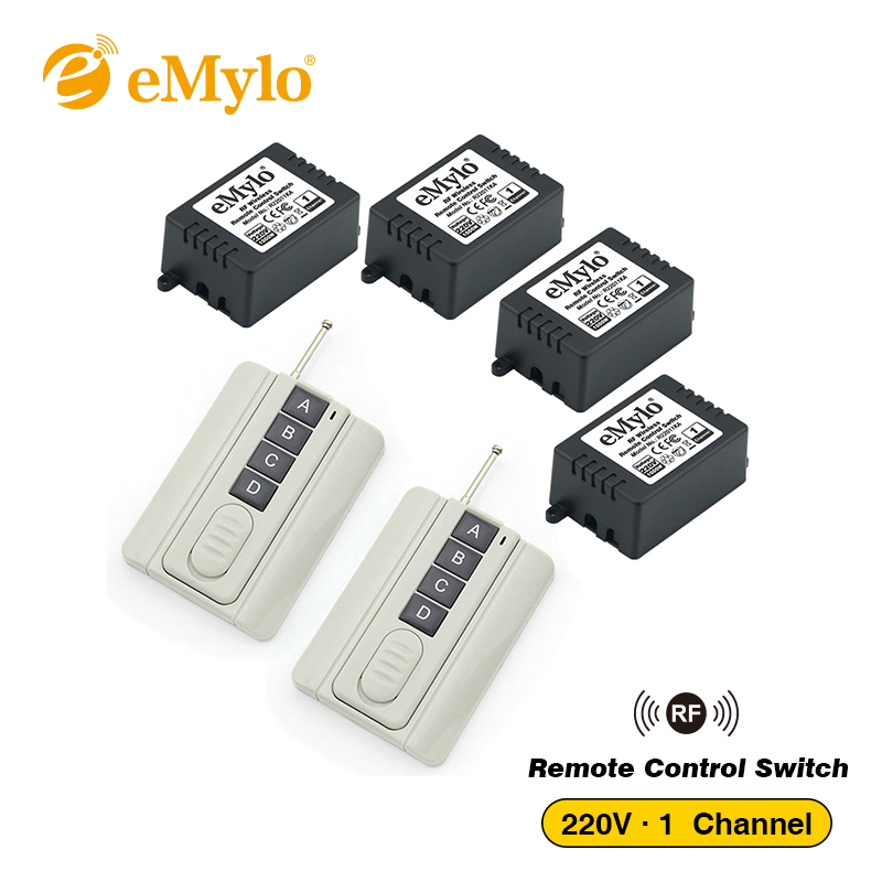 eMylo Remote Control Light Switch AC220V-230V-240V 1000W 2X 4 button Transmitters 4X 1 Channel Relays RF 433Mhz Wireless Switch emylo 4x 220v 1000w 1channel 433mhz wireless rf realy remote control switch receiver with transmitter