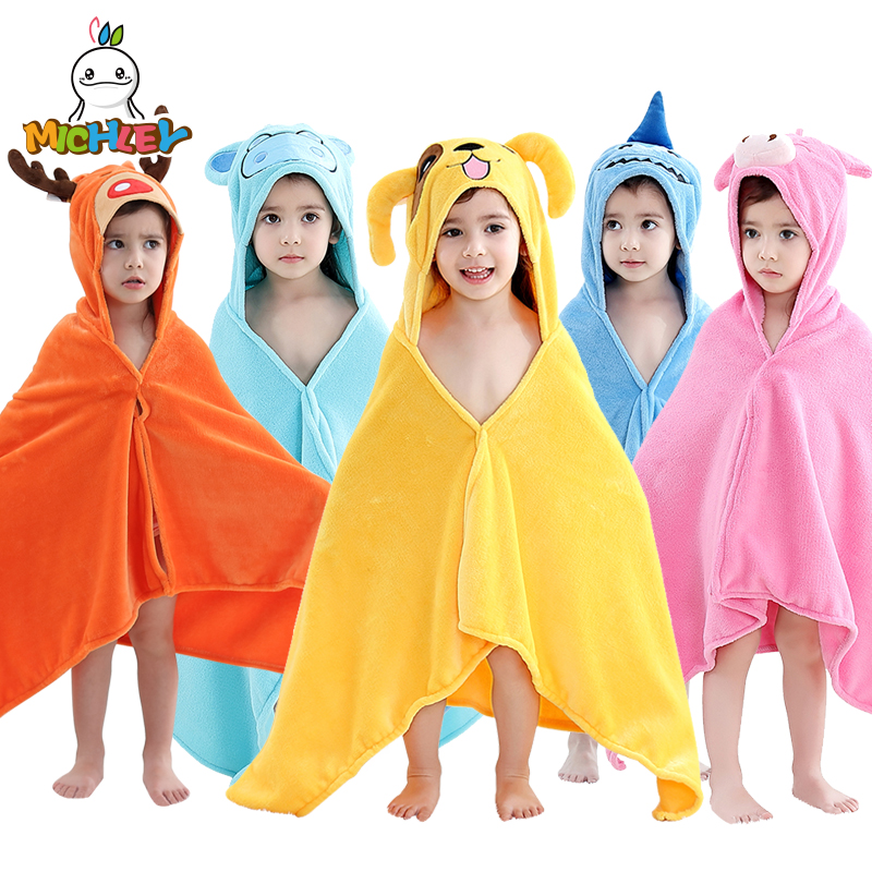 MICHLEY Kids Towel 2019 Toddler 100% Cotton Bathrobe Baby Boys Girls Spring Animal Hooded Bath Children Cartoon WEG