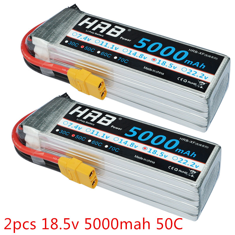 2pcs HRB Lipo Battery 18 5V 5000mah 50C 100C 5S For RC Car Aircraft Toy Helicopter