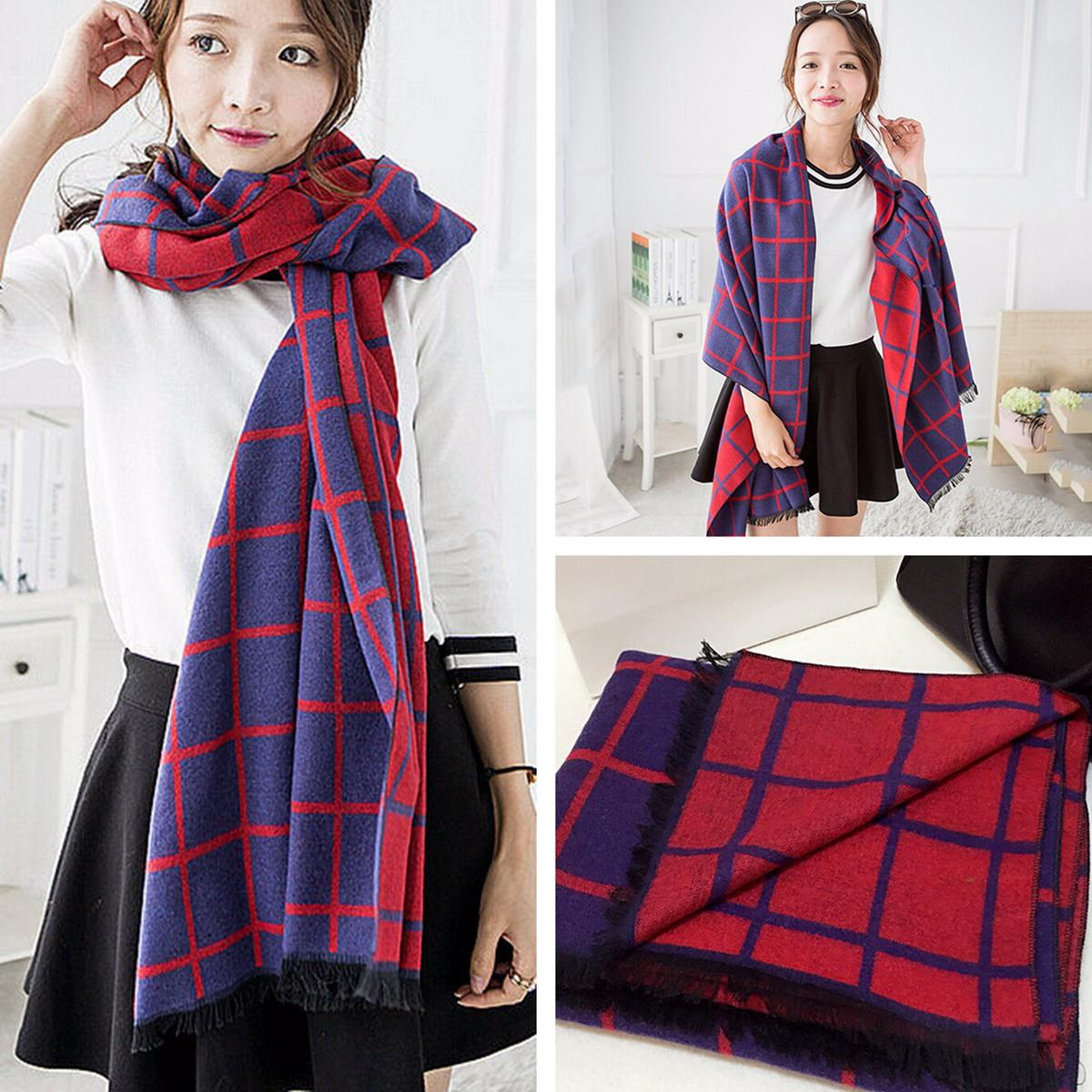 Women Plaid warm scarves Oversized Blanket font b Tartan b font Scarves Checkered Tassel Pashmina Fashion