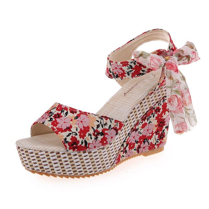 Women Summer Wedge Sandals Female Floral Bowknot Platform Bohemia High Heel Sandals Fashion Ankle Strap Open Toe Ladies Shoes
