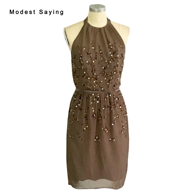 Sexy Backless Brown Straight Halter Beaded Mini   Cocktail     Dresses   2017 Formal Women Short Party Prom Gowns robe de   cocktail   BC119