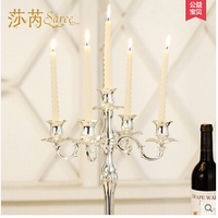 H41cm 5arm metal candelabra luxury silver candle holder candle holders large decorative candles for wedding centerpiecesZT001