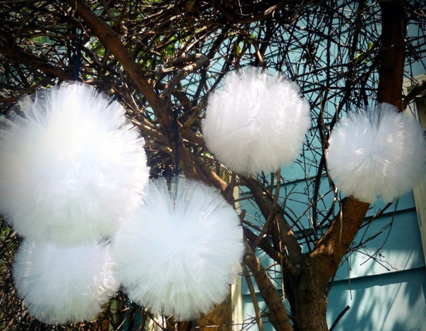 20cm white pink Tulle pompoms Party wedding decoration tulle pom pom ...