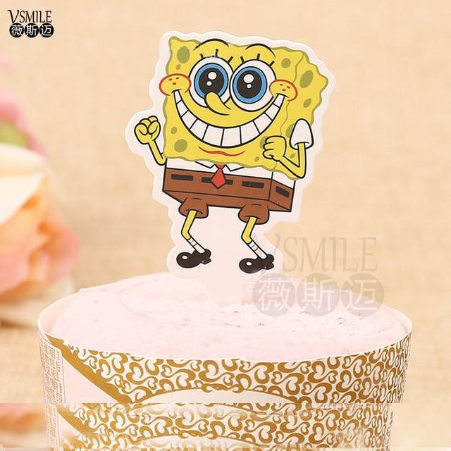 50pcs Cute Yellow Spongebob Donald duck Panda paper Cupcake topper ...