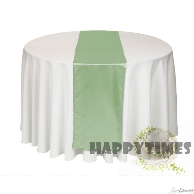 20 Pieces Sage Green Table Runner For Round Table Linen Wedding Decotration  Satin Table Ribbon Shiny